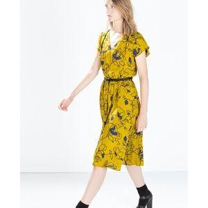 Zara vibrant floral midi tea dress with cutout